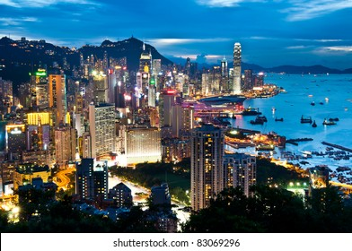 night view of Hong Kong Island