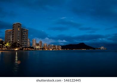 Night view of Honolulu city, Diamond Head and Waikiki Beach; Hawaii, USA