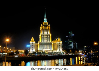 Night view of the hotel Ukraine from Moskva river embankment in Moscow, Russia