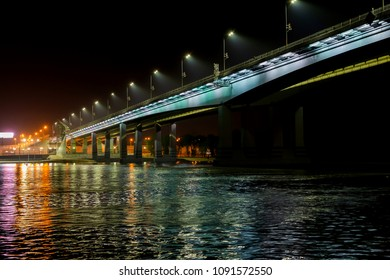 Night view of illuminated bridge above of river Don in Rostov-on-Don in Russia