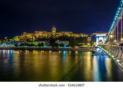 Night view of the illuminated Buda castle in budapest, Hungary