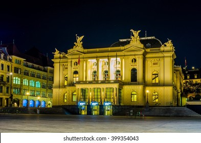 night view of illuminated building of opera in the swiss city zurich
