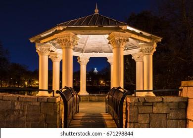 Night view of illuminated Clara Meer Gazebo in the Piedmont Park, Atlanta, USA