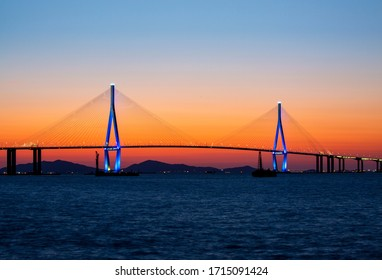 Night view of Incheon Bridge seen from Yeongjongdo Island near Jung-gu, Incheon, Korea