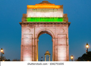 Night View India Gate, New Delhi. Night photography on one of the greatest war memorial in India.