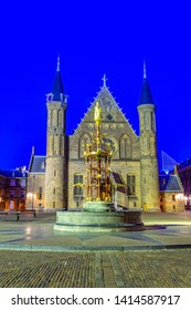 Night view of the inner courtyard of the Binnenhof palace in the Hague, Netherlands