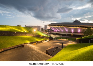 Night view of the International Conference Centre in Katowice