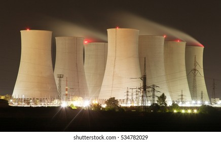 Night view of Jaslovske Bohunice nuclear power plant, cooling towers, Slovakia