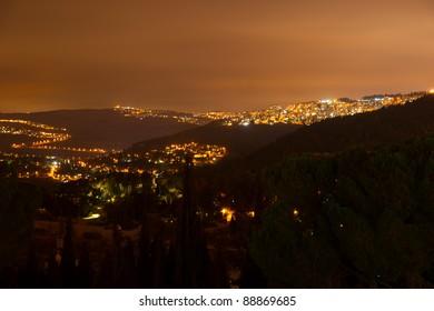 Night view to Jerusalem from Ein Kerem district