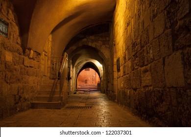 Night view of jerusalem streets
