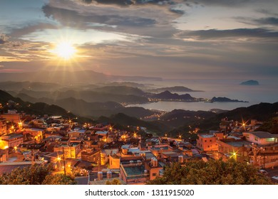 The Night view of Jiufen, People visit heritage Old Town of Jiufen located in Ruifang District of New Taipei City