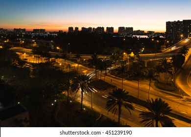 Night view just after sunset in Aventura from Sunny Isles Beach in Florida