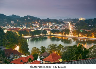 Night view of Kandy city in Sri Lanka