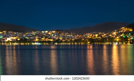 Night view of Kastoria town in Greece