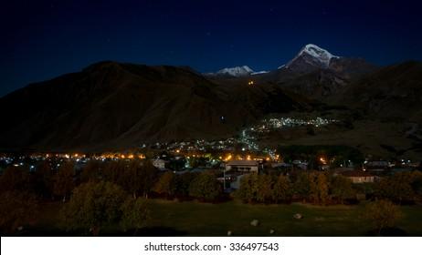 Night view of Kazbegi mountain from Rooms hotel, Stepantsminda, Georgia
