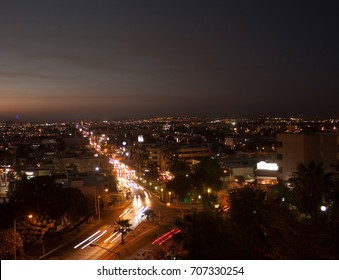 Night view in a knoll city of Mexico