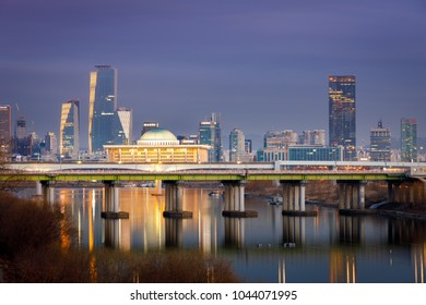 Night view of Korea National Assembly Hall with Han river in Seoul city, South Korea