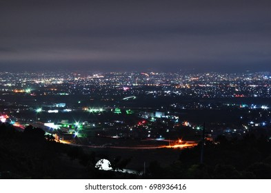 "Night view of Koufu city from ""Yashiro Furusato park"" in Yamanashi Prefecture, Japan. Aug 18, 2017."