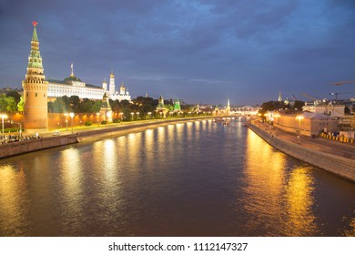 Night view of the Kremlin, Moscow, Russia--the most popular view of Moscow