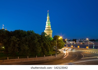 Night view of the Kremlin, Russia, Moscow.