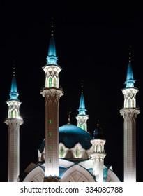 Night view of the Kul Sharif (Qolsherif, Kol Sharif, Qol Sharif, Qolsarif) Mosque in Kazan Kremlin. One of the largest mosques in Russia. UNESCO World Heritage Site.