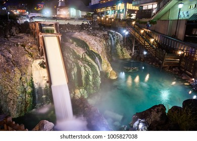 Night view of Kusatsu Onsen Yubatake Japanese hot spring area