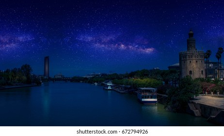 night view from la Triana , seville ,Spain