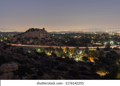 Night view of landmark Stoney Point rock formation in the San Fernando Valley area of Los Angeles, California.