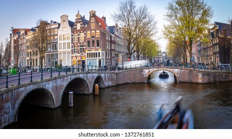 Night view of Leidsegracht bridge in Amsterdam, Netherlands