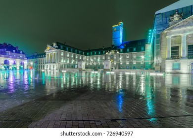 Night view of the liberation square (place de la liberation), in Dijon, Burgundy, France