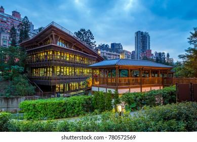 night view of library in beitou, taipei, taiwan