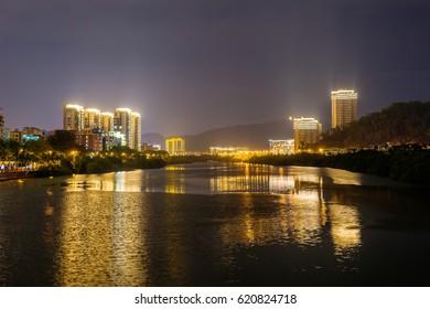 Night view of Lichun river. Sanya city on Hainan Island of China