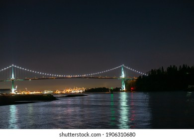 Night view of Lions Gate Bridge seen from West Vancouver
