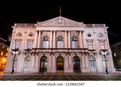 Night view of the Lisbon City Hall, seat of the Lisbon municipal government, located in the City Square, build between 1865 and 1880.