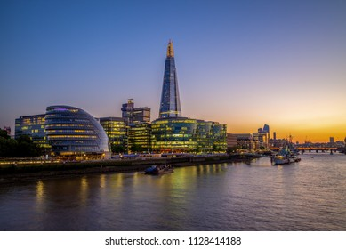 night view of london by the thames river