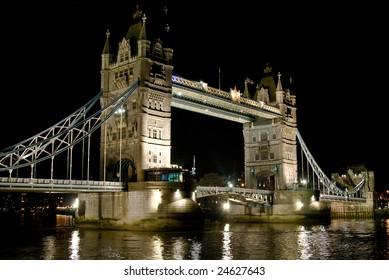 night view of London Tower Bridge illuminated