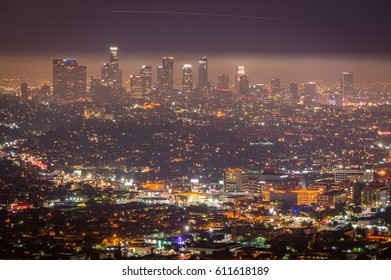Night view of Los Angeles downtown, California, USA