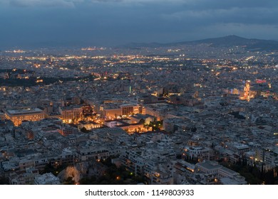 night view from Lycabyttus Hill, Athens, during cloudy summer day