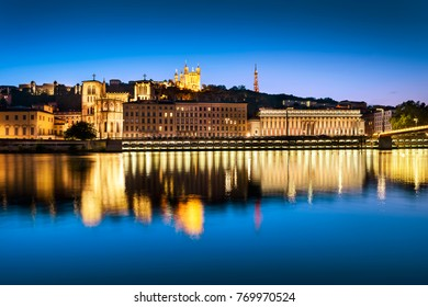 night view from Lyon city near the Fourviere cathedral and SaAne river