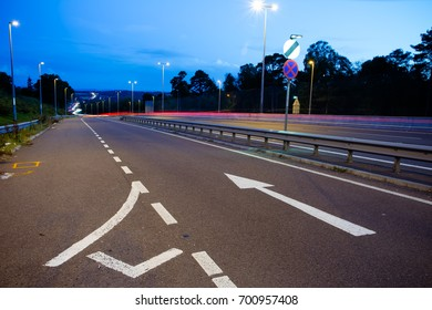night view of M23 motorway which connects London with Gatwick airport and Brighton