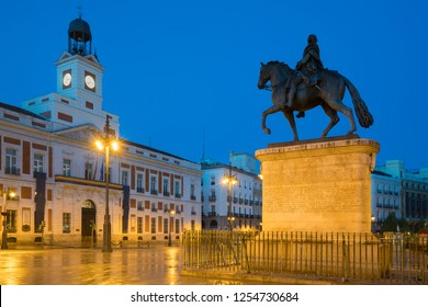 Night view in Madrid Puerta del Sol square Km 0 in Madrid, Spain.