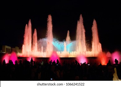 Night view of the Magic Fountain in Barcelona, Spain