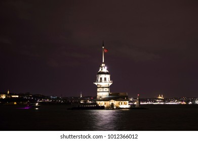 Night view of Maiden's Tower (Kiz Kulesi) at Bosphorus, Istanbul. It is one of the most famous landmarks in Turkey and one of the top symbols of Istanbul city.