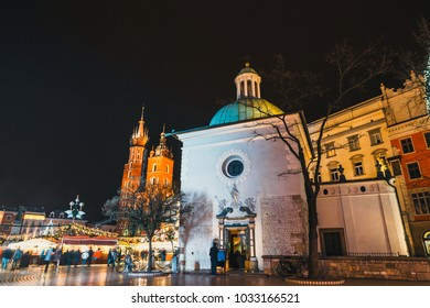 Night view of Main Market Square in Krakow, one of the most beautiful city in Poland
