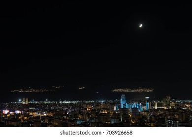 night view of Maltepe district in istanbul taken from asian part of the city.