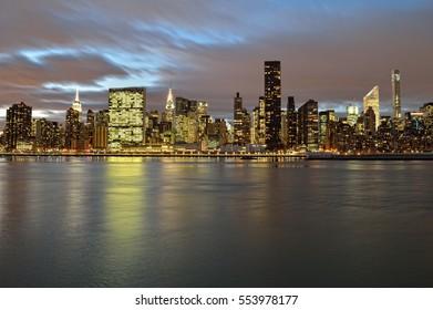 A night view of the Manhattan skyline.