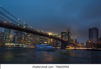 Night view of Manhattan skyline. New York night landscape
