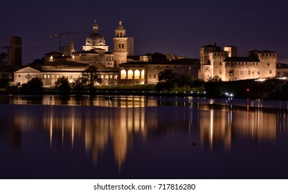 Night view of Mantua skyline