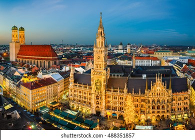 Night view of Marienplatz with the Christmas market in Munich, Germany