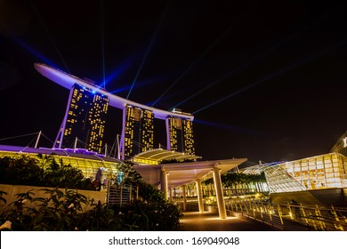 Night view from the Marina Bay Sands resort hotels on DEC. 24, 2013 in Singapore. Developed by Las Vegas Sands, it is billed as the world's most expensive casino.